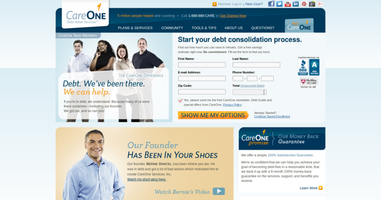 Consolidating debt care relief